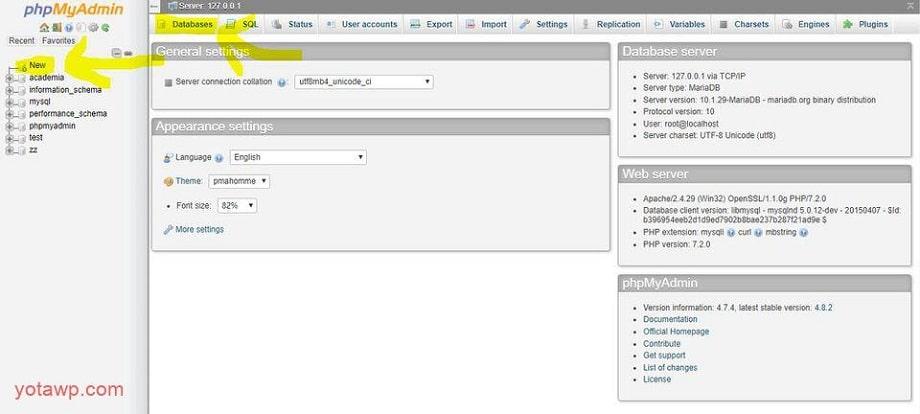 ساخت پایگاه داده در لوکال هاست